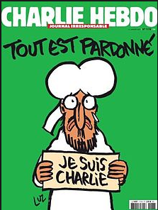 Sad Mohammed with I am Charlie sign