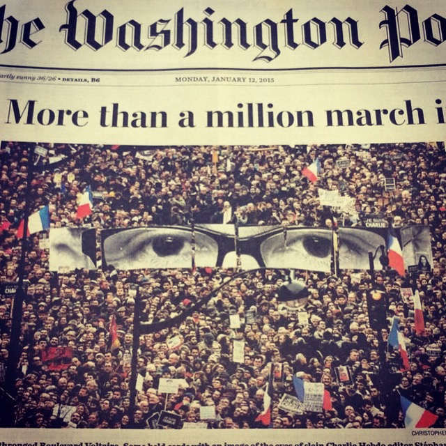 The Washington Post covers on Monday, Jan. 12th. More than a million march in Paris